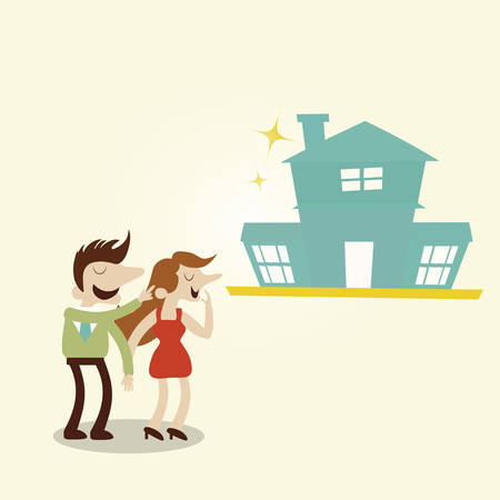 boast: Happy family with new house.Vintage cartoon business vector design. Illustration