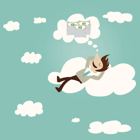Business man dreaming about money on cloud.Vintage cartoon business vector design. Vector