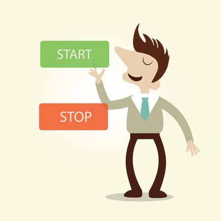 Business man pushing start and stop button.Vintage cartoon business vector design. Vector