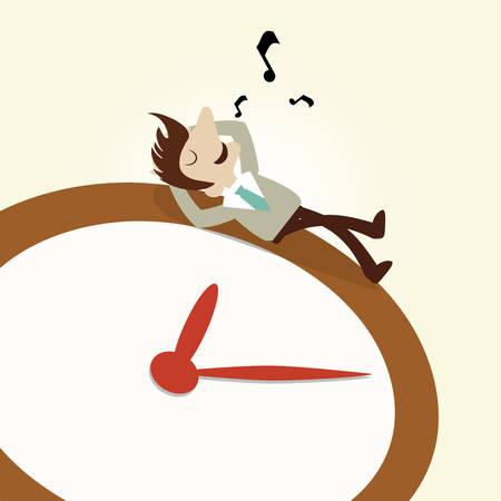 whistling: Business man rest on clock whistling