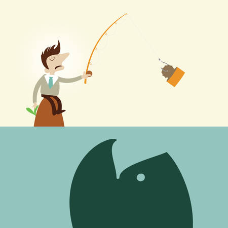 Business man fishing.Vintage cartoon business vector design. Vector