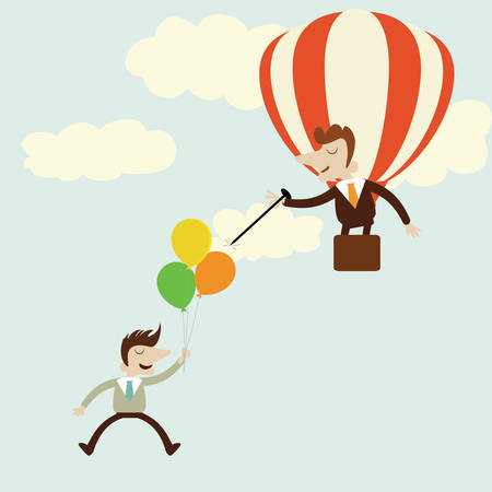 jealousy: Business with balloons with rival enemy popping with needle.Vector cartoon design.