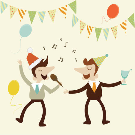 Office party with business man sing karaoke music and enjoy drinks.Vector cartoon design. Vector