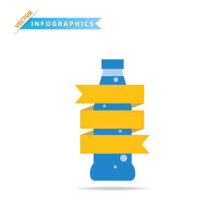 swill: Drinks bottle with ribbon label, Vector design element for infographics.