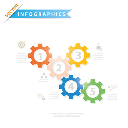 gears: Colorful vector design for workflow layout, presentation template, diagram, number options, web design, infographics.