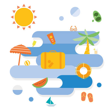 Summer beach icon vector design object Vector
