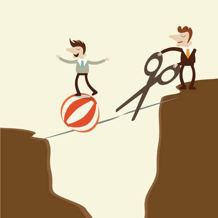 tightrope: Een zaken man overneemt een riskante gevaarlijke walk op een koord en vijand het snijden van de rope.concept cartoon vector ontwerp. Stock Illustratie