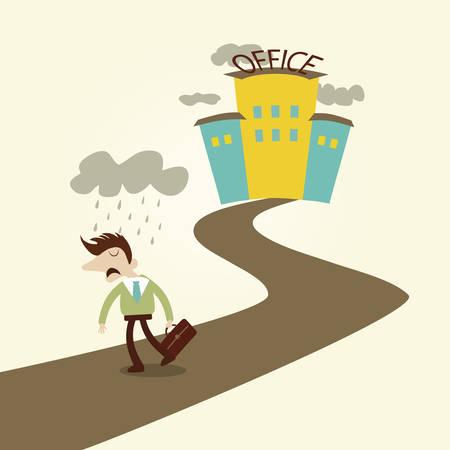 worried man: Sad Business man after bad working day. Vector cartoon design.