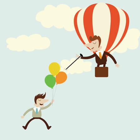 business rival: Empresas con globos con enemigo rival apareciendo con dise�o de dibujos animados needle.Vector. Vectores