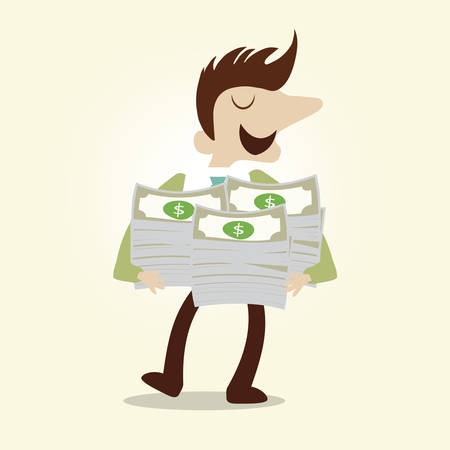 Business man and bundle of dollar note,vector cartoon illustration. Illustration