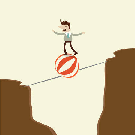 dangerous man: A business man takes a risky dangerous walk on a tightrope and play ball.concept cartoon vector design .