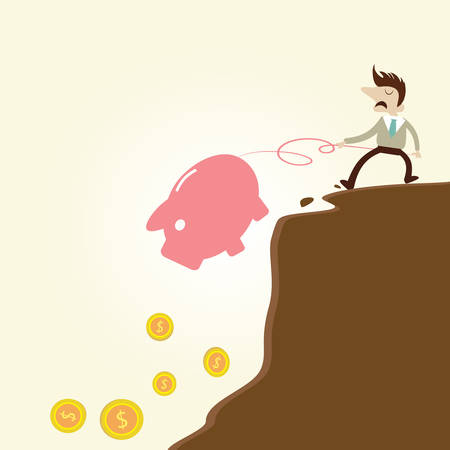 Businessman pulling piggy bank from edge of fiscal cliff.Vintage cartoon business vector design. Vector