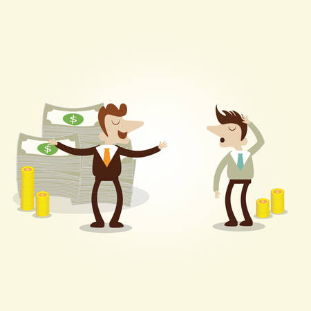 boast: Success businessman talking with new invester,vector cartoon illustration.