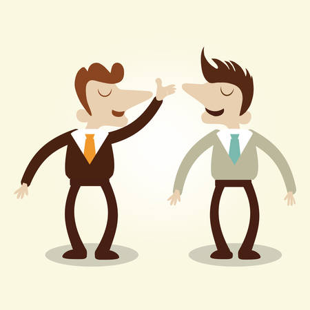 persuade: Business men talking conversation,vector cartoon illustration. Illustration
