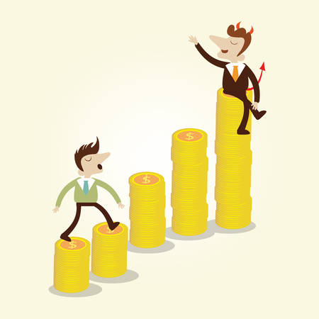 charactor: Businessman walking on rising gold coin graph stair with business devil on top,vector cartoon illustration.
