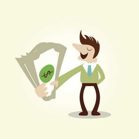 Rich business man grab money.Vintage cartoon business vector design. Vector