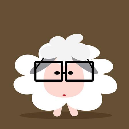 Cute sheep with eye glasses, concept cartoon vector design . Vector