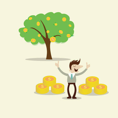 Business man with success investing profit tree. concept cartoon vector design Vector