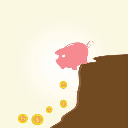 Piggy bank at edge of fiscal cliff.Vintage cartoon business vector design. Vector