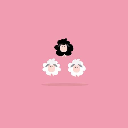 Black sheep business concept, Vector cartoon design. Vector