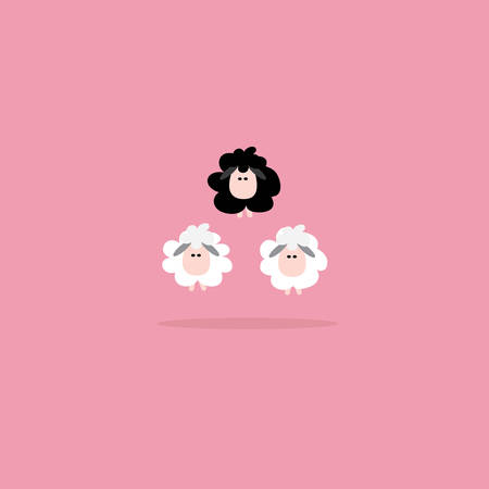 Black sheep business concept, Vector cartoon design. Vector