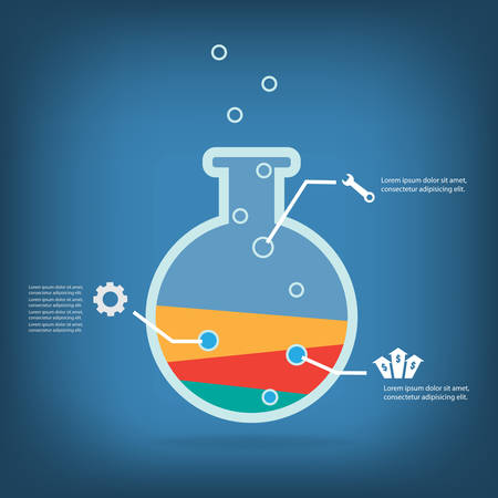 Business experiment, Colorful vector design for workflow layout, diagram, number options, web design, presentation template, infographics. Vector