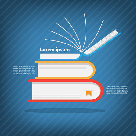 Books stack,Colorful vector design for workflow layout, diagram, number options, web design, presentation template, infographics. Vector