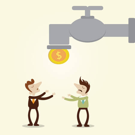 poor man: Businessman and the manager waiting coin drop from faucet.Vector cartoon design metaphor Illustration
