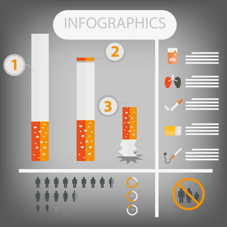 nicotine: Cigarettes infographics. World No Tobacco Day. Illustration