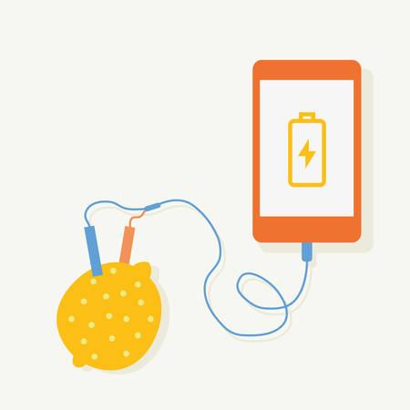 abnormal: Lemon electric charging Smartphone.vector illustration design.