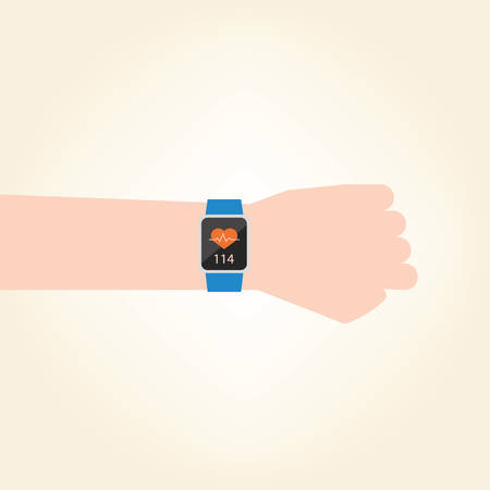 Smart watch with pulse rate measure.vector illustration design. Vector