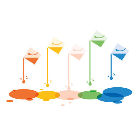 offset: Paint bucket with colorful drop background.Vector illustration design.