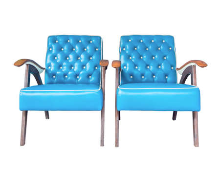 armchairs: Blue vintage couple armchairs isolated on white background