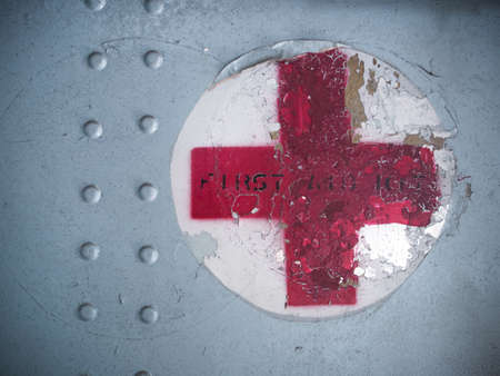 BANGKOK THAILAND - 8 NOVEMBER, 2014:Red cross sign on military aircraft. The American Red Cross is part of the world's largest humanitarian network with 13 million volunteers in 187 countries.