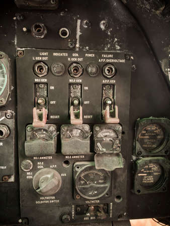 ammeter: Old indicater panel on military aviater aircraft. Editorial