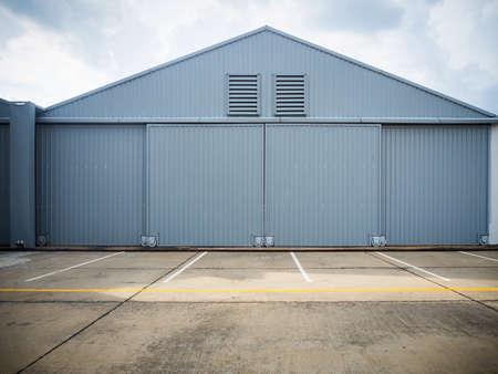 large doors: Closed warehouse doors.