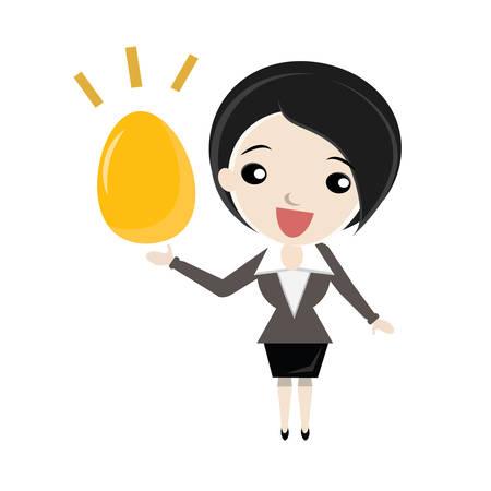 woman holding money: Businesswoman with Golden Egg. Vector business cartoon. Illustration