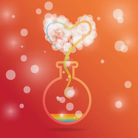 elixir: Amor hechizo. Experimento de la ciencia con el humo forma de corazón.