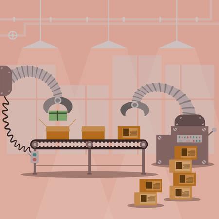 fabrik: Geschenkbox Fabrik für die Produktion Maschine. Vektor-Illustration Design.