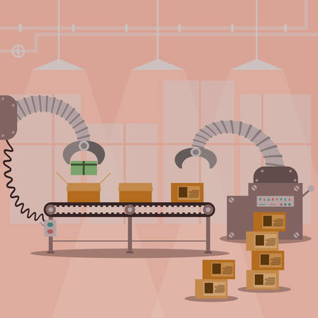 factory line: Gift box production factory machine. Vector illustration design.