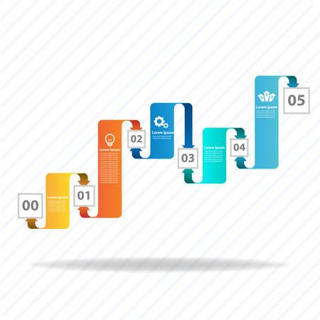 Bunte Vektor-Design für Workflow-Layout-Diagramm, Anzahl Optionen, Web-Design, Präsentationsvorlage, Infografiken.