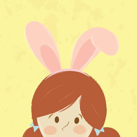 Cute girl ware bunny rabbit ears. Vector cartoon design. Vector
