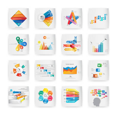 Set of colorful vector design for workflow layout, diagram, number options, web design, presentation template, infographics. Vettoriali