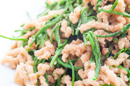 pennata: Vegetarian dish, Fried green Acacia pennata with granule soy protein. Stock Photo