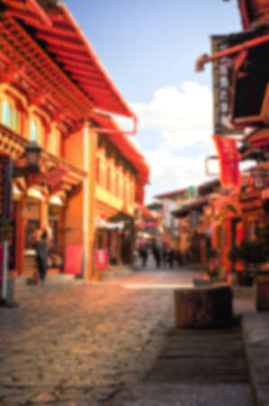 oldtown: Blur background image of Oldtown in Zhongdian Shangri-La