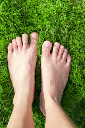 Woman feet walk over green grass. Stock Photo