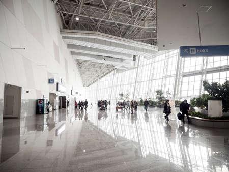 GYEONGGI, SOUTH KOREA - MARCH 1, 2015: People inside KINTEX (Korea International Exhibition Center) .KINTEX is the largest convention and exhibition center in Korea.