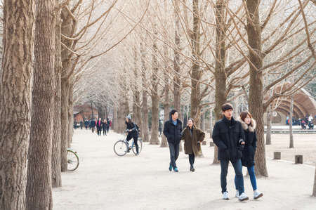 CHUNCHEON, SOUTH KOREA - OCT 07, 2014: Tourists enjoy one of the many tree-lined trails of Nami Island (Namiseom), where the popular Korean drama Winter Sonata was filmed.