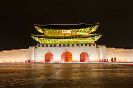 Gyeongbokgung palace front at night.