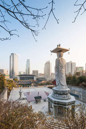 Beautiful buddha statue at Bongeunsa temple, Seoul, Korea photo